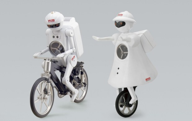 "This 20"" (50cm) bike-riding robot is a kind of mascot for Japanese electronics component company Murata. The doll-sized device can balance, pedal forwards and back, and avoid obstacles. Balance is achieved through three gyros, including one controlling a flywheel in the robot's chest. A Bluetooth-connected gestural wand directs the robot's movements. His younger cousin, Murata Girl, rides a unicycle."
