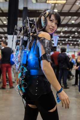 Mel Li, Ph.D., rocks her homemade wearable electronics with luminescent dye, powered by an Atmel processor and an Arduino microcontroller board.
