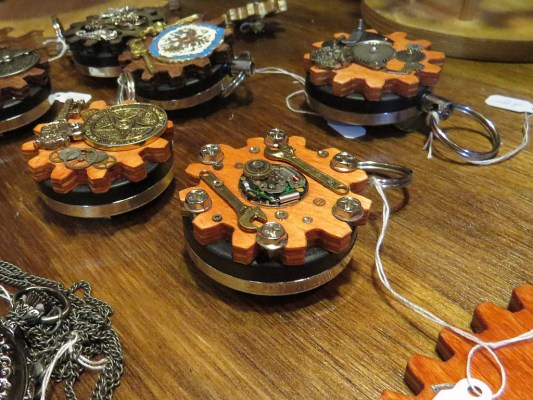 The gearologists at www.cogbots.com also design intricate keychains and latching curiosity boxes.
