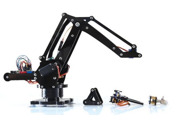 "ufactory.cc  Billed as ""a miniature industrial robot arm on your desk,"" the uArm is based on ABB's IRB 460 high-speed ""palletizer.""  The design concentrates mass in the base, allowing the arm to move quickly. Spectacularly overfunded on Kickstarter in March, uArm can be preordered now and is expected to ship in June."