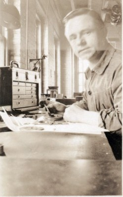 """It's not the greatest photo, but this is my grandfather shortly after he immigrated to New York City from Germany in the early 1930's. He made parts for submarines. I took his Carl Zeiss micrometer to a calibration company that was set up at Maker Faire North Carolina last weekend, and they certified it, saying it was """"dead-on accurate"""" -- the best they've seen for a micrometer of that age.  I still have that beautiful wooden toolbox that a porter found for him the day he arrived in 1930. (His """"came completely apart during the customs check and the luggage check."""") He and his wife exchanged letters for five years before he could afford to bring the rest of the family over. A few months after he left, she wrote, """"My dear, I miss you so much. Your fix-it hands are missed in all corners.""""  He died when I was only an infant, but the stories of him and his tinkering are a big part of what inspired me to do the same -- and I'm trying my best to pass it along to my kids as well. -- Alex Franke"""
