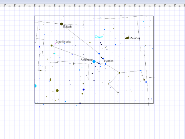 Pick your constellation star map! Taurus is shown here. I pasted it into Inkscape. I made the image the size of the board so I could plan where to drill the star holes.