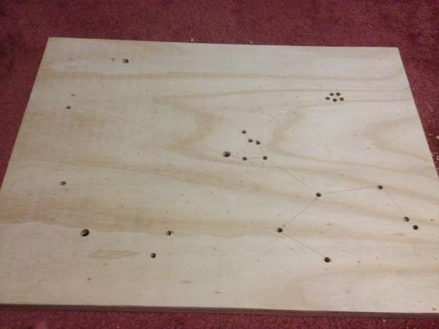 "I started to drill out the stars. 3/8"", 1/4"", 1/8"", and 1/16"" were the drill bits I used."