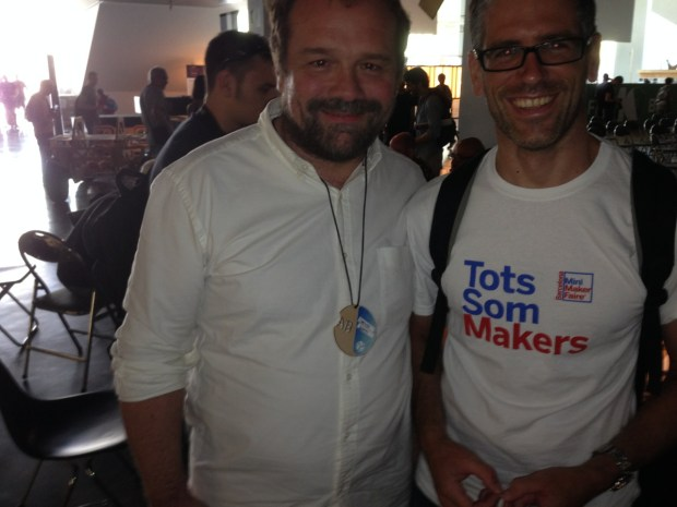 Arduino Project's Massimo Banzi with a local BCN fan sporting a Barcelona Mini Maker Faire tshirt