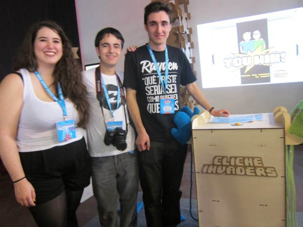 The team behind Cliche Invaders: Itsaso, Joseba, Guillermo from BioBx—a young makers program by Espacio Open and Boxon Records from Bordeaux