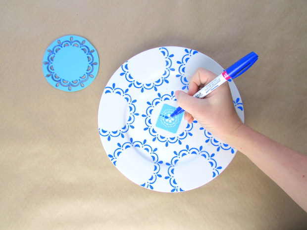 diy home hand painted blue and white plate wall display
