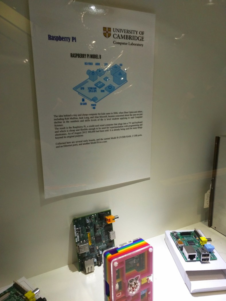 The first versions of the Raspberry Pi in the display case at the Lab.