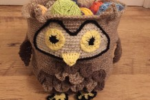 DIY Crocheted Owl Yarn Storage Basket