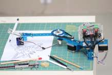 Arduino-Compatible 4-in-1 DrawBot Decorates Walls, Floors, Eggs, and More