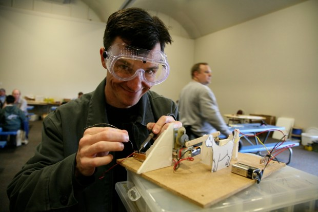 A Maker enjoying the high-tech tinkering action at Make Play Day, one of the most popular features of that first year.