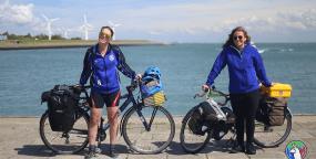 Miriam and Madison in Zeeland before crossing into Belgium.