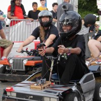 "Ahmed at the wheel of the ""Hack to the Future"" car from the HackPGH Power Wheels team. (Photo: Jordan Bunker)"