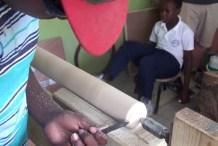 Turning Bats on a Human-Powered Lathe in the Dominican Republic