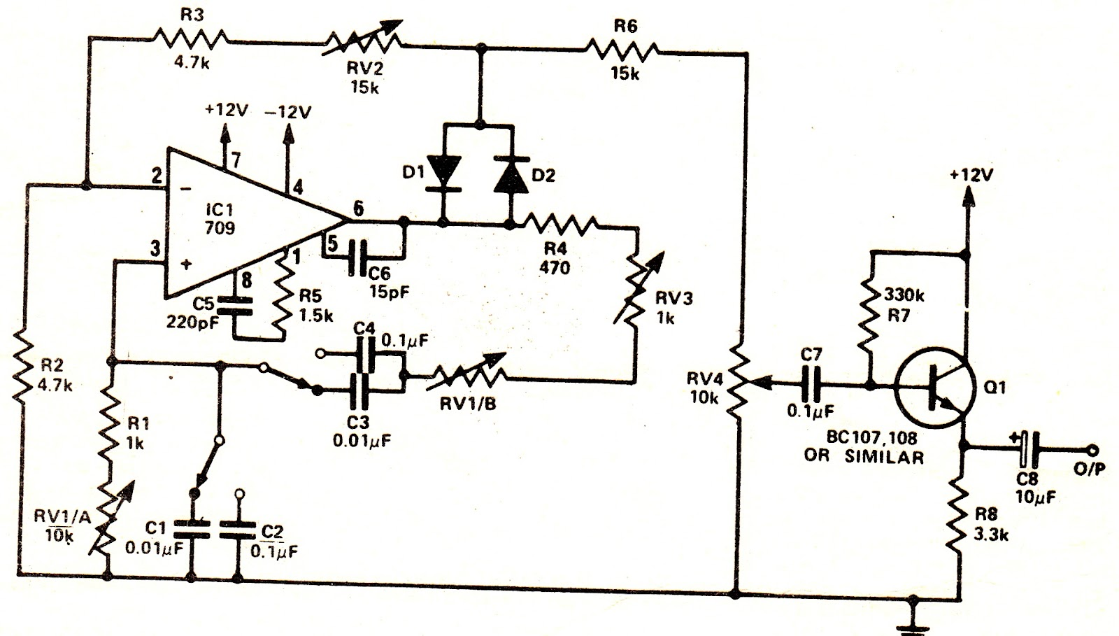 sine wave generator the circuit
