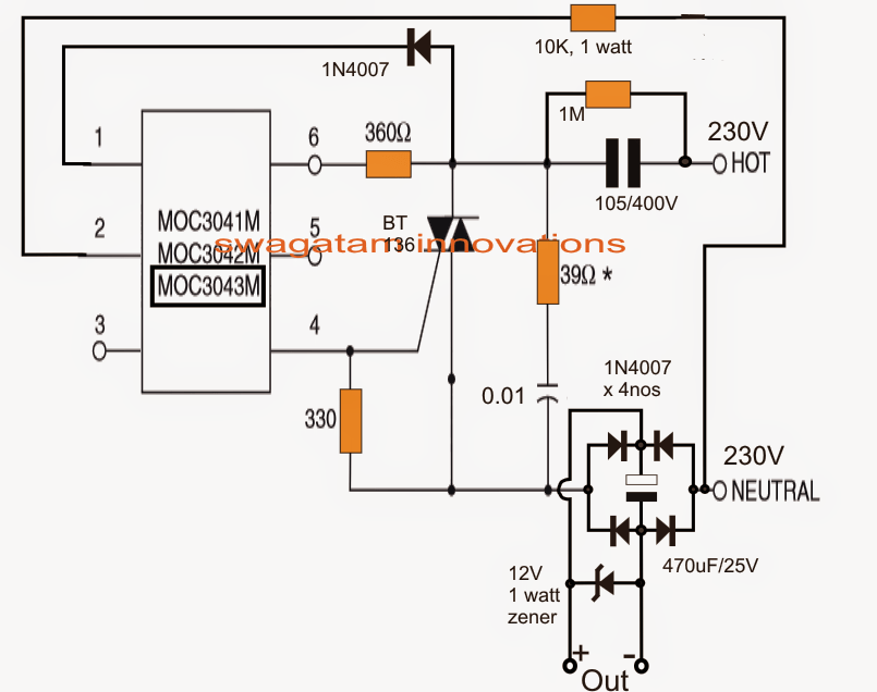 electronic components blog optocoupler power circuit with moc3041