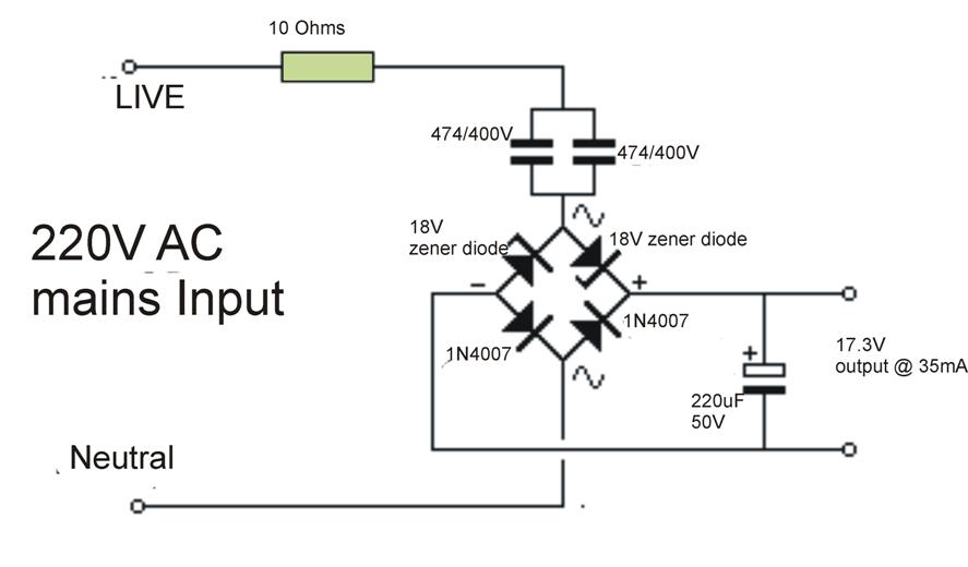 transformerless power supply circuit