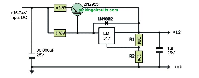 lm317t voltage regulator with pass transistor
