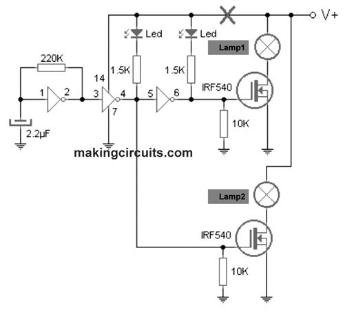 12v lamp flasher circuit