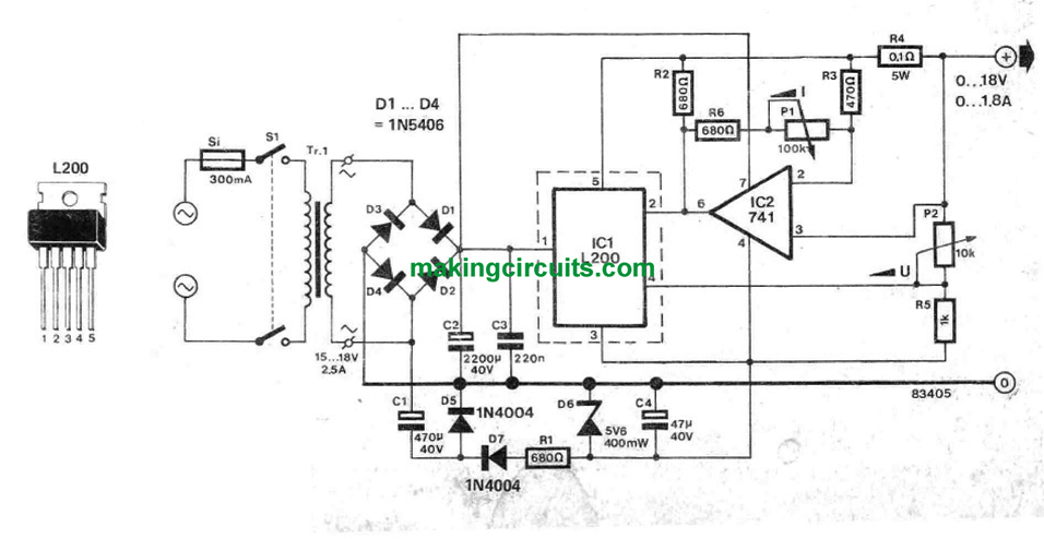 bench power supply circuit