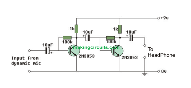 simple audio preamp circuit schematic diagram