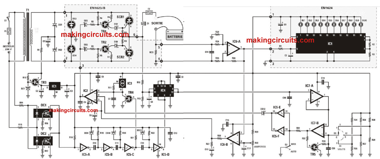 24v scr battery charger circuit diagram