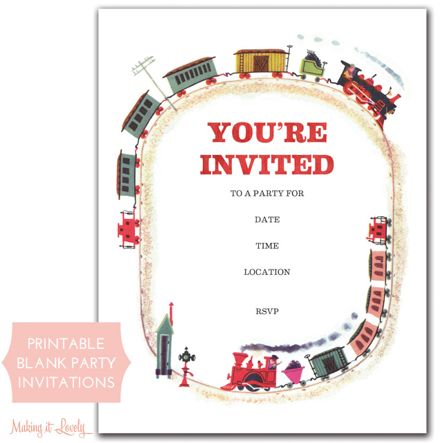 Train Party Invitations (Free Printable) - Making it Lovely