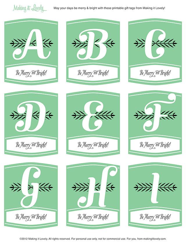Free Printable Monogram Christmas Gift Tags - Making it Lovely