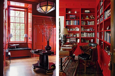 Glossy Red Lacquer Painted Library Bookshelves