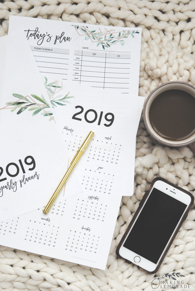monthly planners 2019