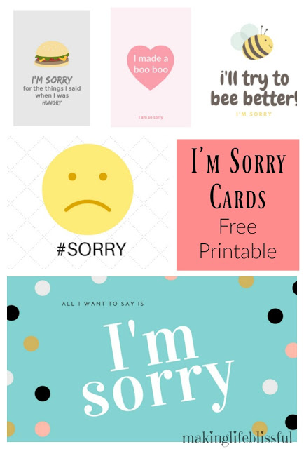 10 Ways to Say I\u0027m Sorry + Free Printable Apology Cards Making