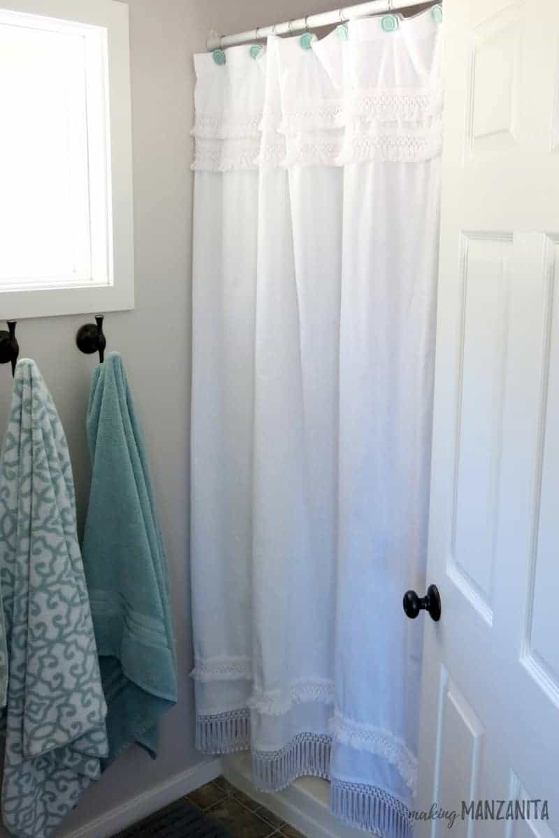 Long Shower Curtain How To Fix A Shower Curtain That Is Too Short Making Manzanita