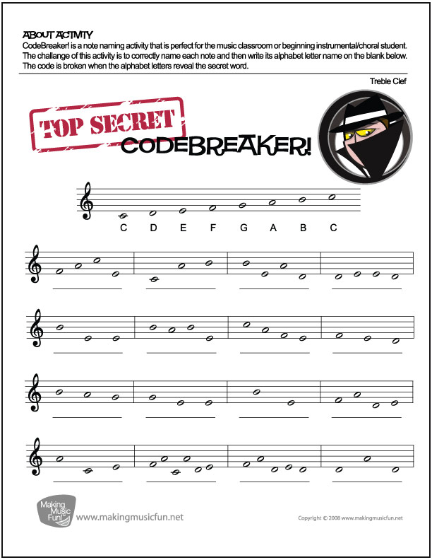 CodeBreaker! Music Theory Worksheet - Treble Clef Note Names - clef music