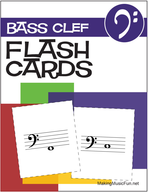 Music Flashcards Bass Clef Note Names (Digital Print) - base cleff