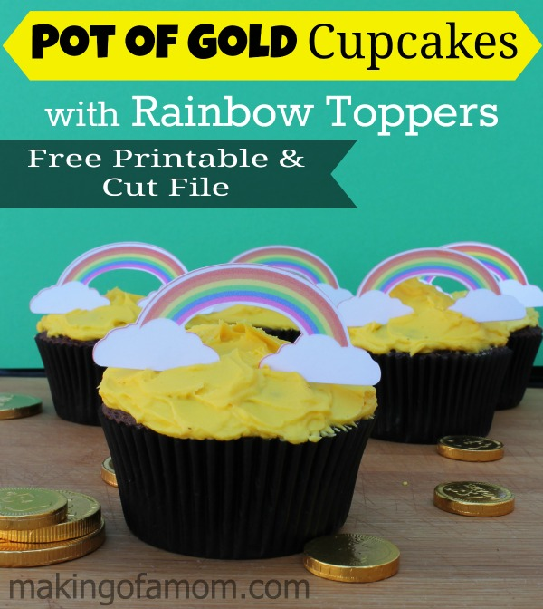 Pot of Gold Cupcakes + Rainbow Printable Printable