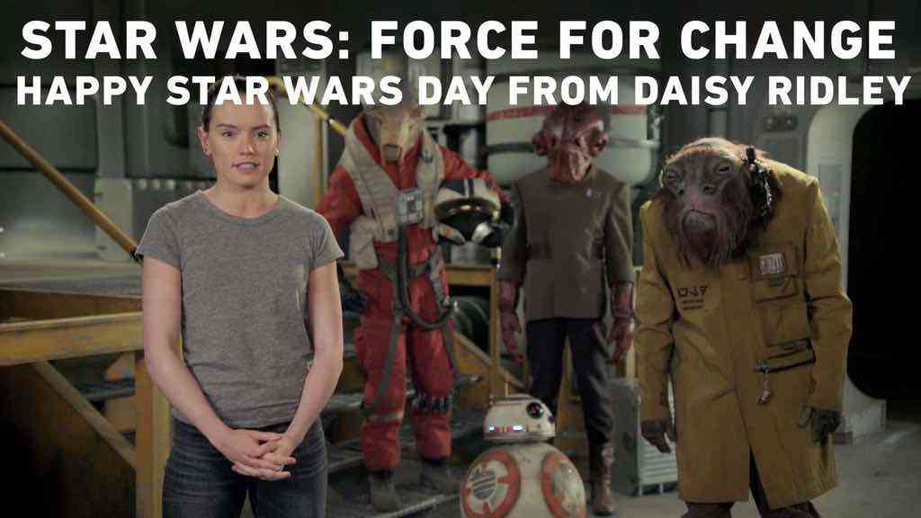 Daisy Ridley wishes fans a happy Star Wars day on the set of Episode VIII!