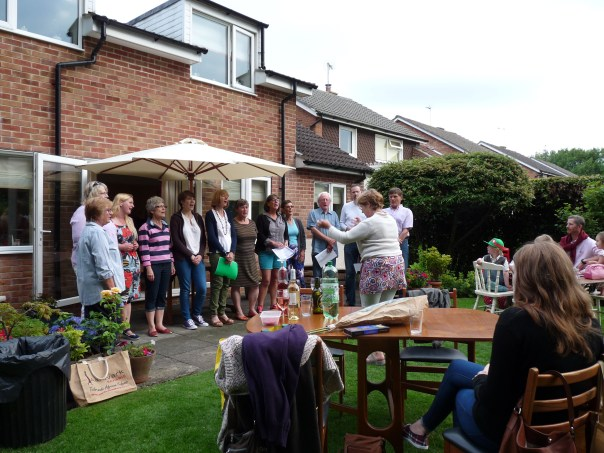 Here we are at our summer barbecue, singing for friends and family