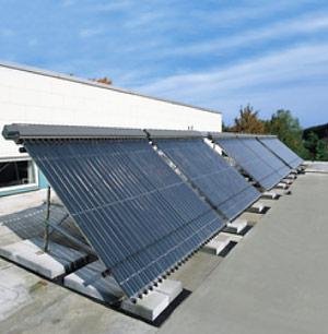 Несколько последовательно установленных батарей соллнечных коллекторов
