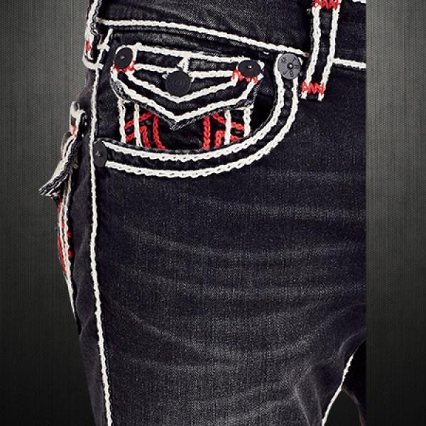 True Religion Men Black Dark Desire Straight Rope Stitch White Red