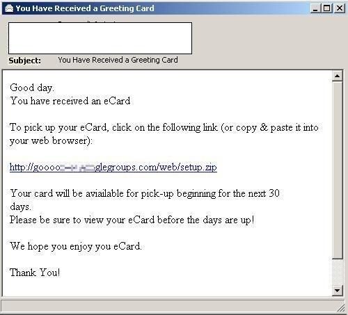 Virus Fighting Malware! Page 15 - greeting email sample