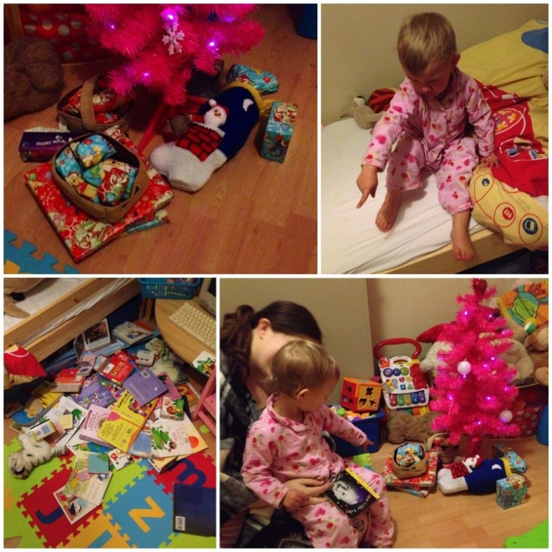 Santa came in the night - The big pile of books Georgie read after being put to bed on Christmas Eve
