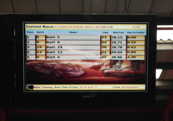 End results on the screen