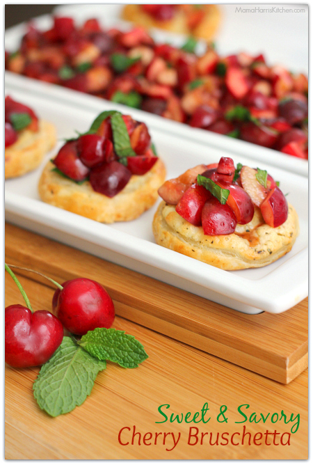 sweet and savory cherry bruschetta #puffpastry AD | Mama Harris ...