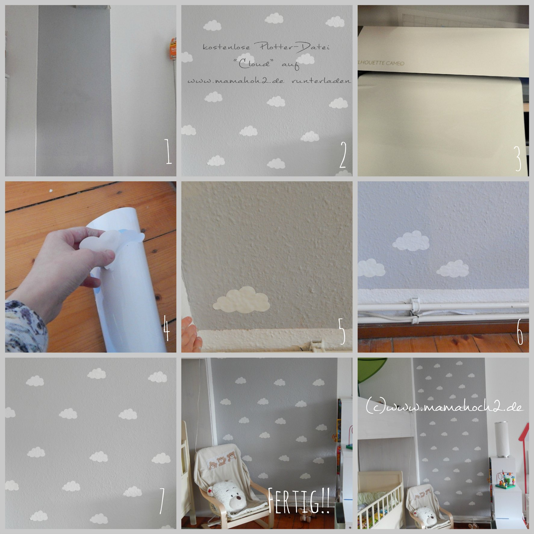 Kinderzimmer Wand Ideen Kinderzimmer Ideen 1 Wolkenwand Tutorial And Plotter