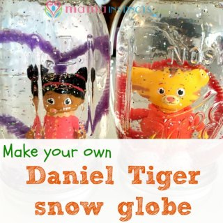 Try this easy snow globe kid craft! Perfect for birthdays or a rainy day. #DanielTiger #kidcraft #snowglobe #craft