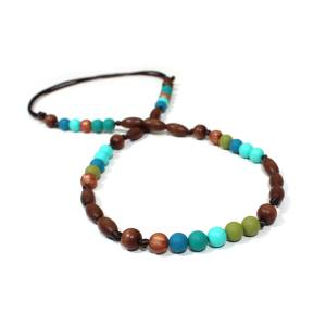 Elements Peacock 005 - Peacock green turquoise Silicone wood teething nursing necklace
