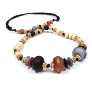 Anthropologist Bohemian Jet Copper 001 - Anthropologist Bohemian Jet & Copper wood silicone teething necklace