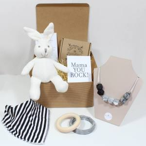 MONOCHROME HAMPER - Mum and baby gift hamper - Calming grey and white bunny