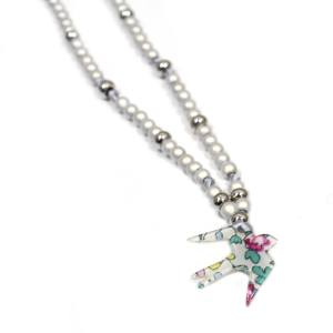 ELOISE ROSE LIBERTY BIRD NECKLACE 4 - Liberty print bird nursing teething fiddle necklace Eloise
