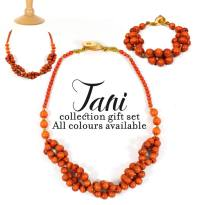 tani orange gift text set - Tani wooden teething nursing fiddle necklace and bracelet gift set (all colours)