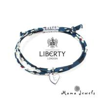 liberty navy bracelet personalised - liberty print bracelet personalised initial - Navy blue